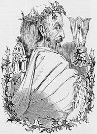 Kuprogravuro de Old Christmas aŭ Patro Kristnasko 1843