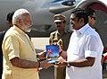 The Prime Minister, Shri Narendra Modi being received by the Chief Minister of Tamil Nadu, Shri Edappadi K. Palaniswami, on his arrival, at Madurai, Tamil Nadu on July 27, 2017.jpg