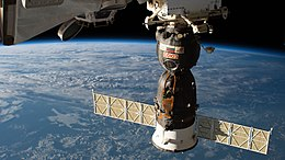 The Soyuz MS-09 spacecraft is pictured docked to the Rassvet module.jpg