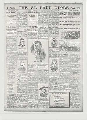 Battle of Sugar Point - The St Paul Globe October 9, 1898 showing portraits of six of the killed and wounded US Army casualties