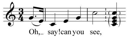 """The Star-Spangled Banner"" opens with an arpeggio Play arpeggio followed by chord (help*info) The Star-Spangled Banner arpeggio.png"