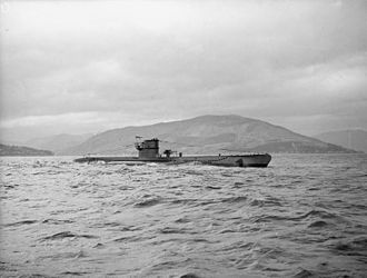 HMS Graph - Graph at Holy Loch, Scotland, after she had ceased active service and been reassigned for training use (20 April 1943)