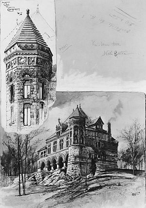 Oakes Ames Memorial Hall - A drawing of the Hall by Harry Fenn, currently in the Metropolitan Museum of Art