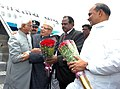 The Vice President, Shri Mohd. Hamid Ansari being received by the Governor of Andhra Pradesh, Shri N.D. Tiwari, at Begumpet Airport, in Hyderabad on August 01, 2009.jpg
