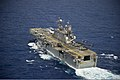 The amphibious assault ship USS Peleliu (LHA 5) steadies its course while in formation during a photo exercise June 23, 2014, in the Pacific Ocean 140623-N-AQ172-174.jpg