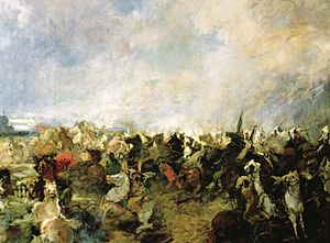 Battle of Guadalete - The Visigothic retreat in front of the Berber cavalry, as depicted by Salvador Martínez Cubells (1845–1914)