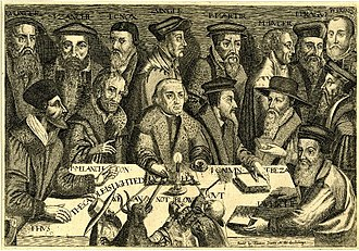 Thomas Jenner (publisher) - The candle is lighted, we cannot blow out, joint portrait of 15 Protestant reformers c.1640, published by Thomas Jenner