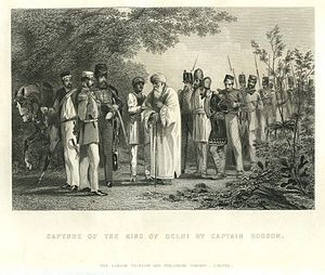 "William Stephen Raikes Hodson - ""Capture of the king of Delhi by Captain Hodson"" from The Indian Empire  (1857) by Robert Montgomery Martin"