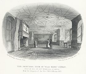 The principal room in Plas Mawr Conway: built in 1585 by Robt. Wynne Esq. of Gwydir: now the property of the Hon. E.M.Ll. Mostyn M.P