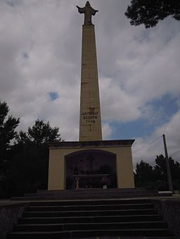 The statue of Christ the Sacred Heart of Jesus Puig de na Ribas near