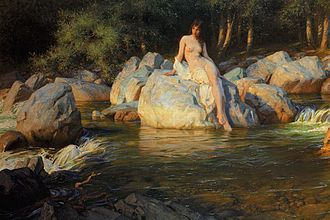 Therianthropy - A water spirit takes on a human form in The Kelpie, a painting by Herbert James Draper.