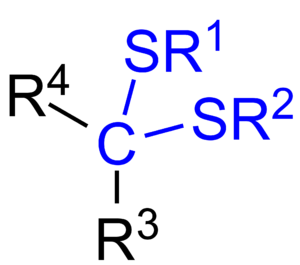 Thioketal - General chemical structure of a dithioketal