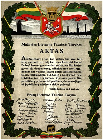 Prussian Lithuanians - A 1938 reproduction of the Act of Tilsit, signed in 1918