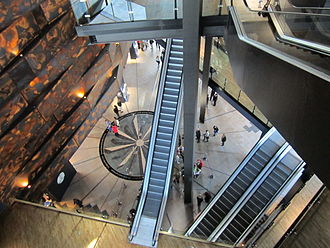 Titanic Belfast - View looking down into the atrium of Titanic Belfast