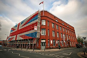 George Ferguson (politician) - The Tobacco Factory during cleaning work which saw a Union Jack flag covering scaffolding