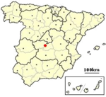 Χάρτης της Ισπανίας και η θέση του Τολέδου