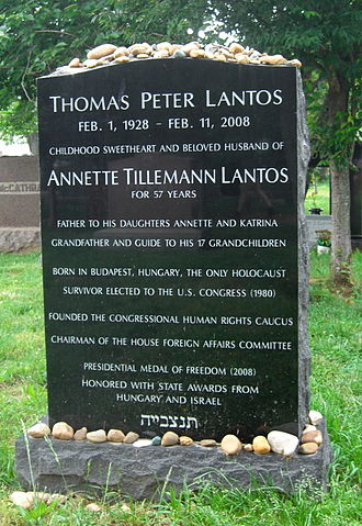 Tom Lantos - Lantos's grave in Congressional Cemetery, Washington, D.C. The letters at the bottom are a Hebrew abbreviation for May his soul be bound up in the bond of eternal life.