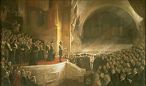 The opening of the Parliament of Australia, 9 May 1901, painted by Tom Roberts