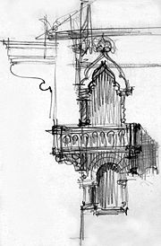 Balcony illustration. Extract from Toma T. Socolescu's sketchbook.
