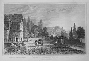 Sayn Castle - Ruins of Sayn Castle around 1832, drawing by Tombleson
