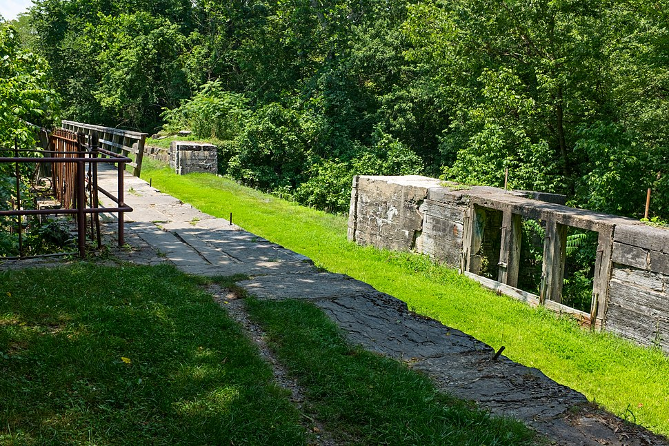 Tonoloway Creek Aqueduct and waste weir from downstream side on Chesapeake and Ohio Canal