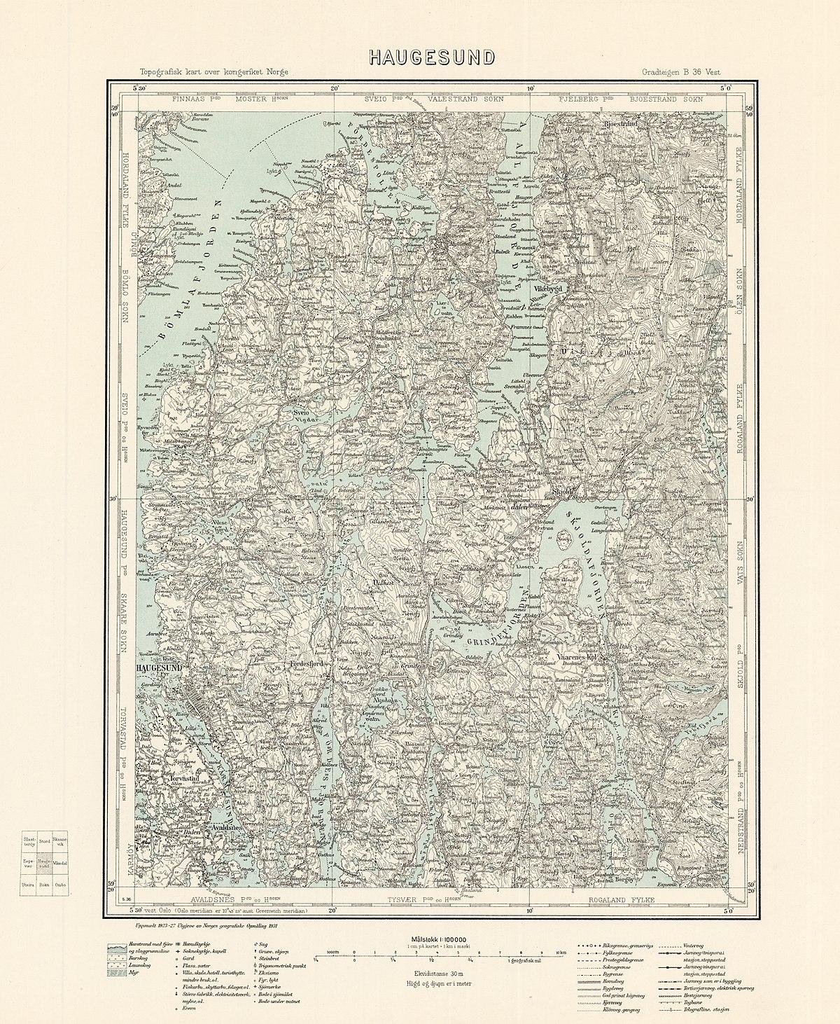 File Topographic Map Of Norway B36 Vest Haugesund 1931 Jpg