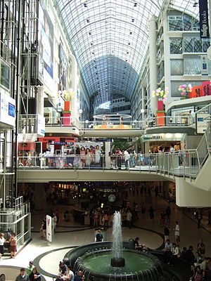 Interior view of the Toronto Eaton Centre.