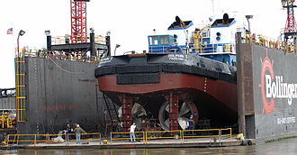 Ducted propeller - The towboat Dolphin I in a floating drydock on the Mississippi River in Algiers, Louisiana.