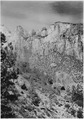 Towers of the Virgin and the Altar of Sacrifice, from Mt. Carmel road west of tunnel. - NARA - 520394.tif
