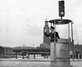 Traffic light - A traffic light in Stockholm in 1953.