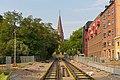 Tram tracks under construction in Sankt Laurentiusgatan, Lund.jpg