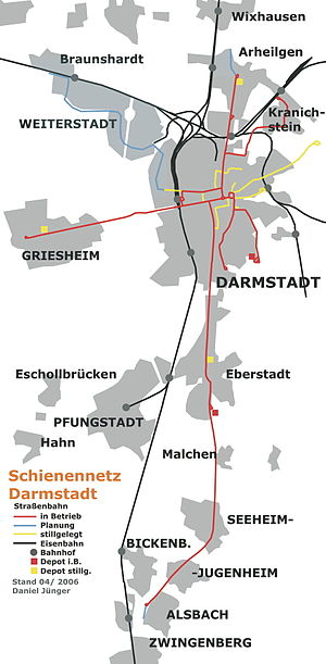 Griesheim, Hesse - Tram map of Darmstadt and Griesheim