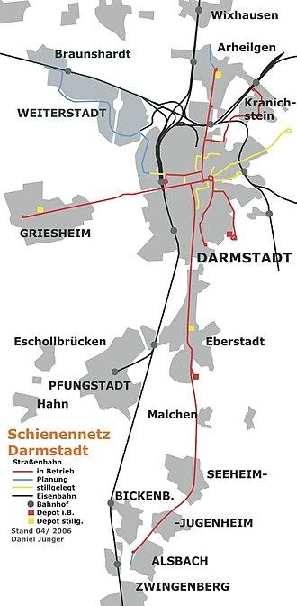 Griesheim, Hesse - Tram map of Darmstadt and Griesheim