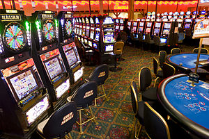 Treasure Valley Casino - A view of the card tables inside the casino.