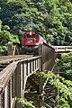Trem de passageiros na travessia da Ponte São João, visto da cabeceira da ponte.jpg