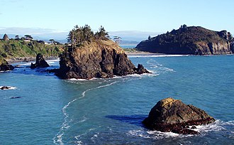 Trinidad Head, California - Only a narrow spit connects Trinidad Head (upper right) to the mainland