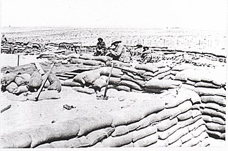 Battle of Katia - Image: Troopers from the Scottish Horse constructing a redoubt at Duadar in 1916 IWM photo Q15839