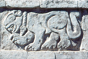 Toltec - Carved relief of a Jaguar at Tula, Hidalgo