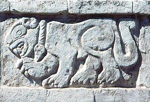 Toltec - Carved relief of a Jaguar at Tula, Hidalgo