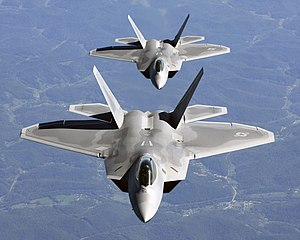 Airstrike - Most modern military aircraft such as this F-22 Raptor carry precision-guided munition, which military sources promote as decreasing civilian deaths.