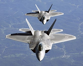 Lockheed Martin F-22 Raptor - Two F-22As in close trail formation
