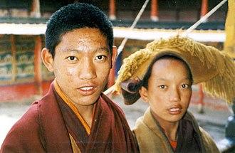 Tashi Lhunpo Monastery - Two novice monks. Tashi Lhunpo, 1993