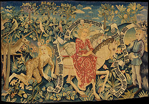 Der Busant - Tapestry from Alsace depicting two scenes from the poem (1480–90)