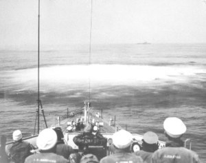 German submarine U-853 - Hedgehog charges detonate on the ocean floor