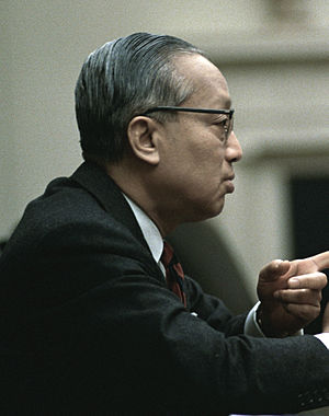 U Thant - Thant meets with U.S President Lyndon B. Johnson in the Cabinet Room, White House on 21 February 1968.