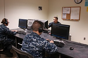 Morse code - A U.S. Navy Morse Code training class in 2015. The sailors will use their new skills to collect signals intelligence.