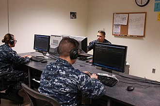 A U.S. Navy Morse Code training class in 2015. The sailors will use their new skills to collect signals intelligence. U.S. Navy 151103-N-XX082-001 Morse Code training 2015.jpg