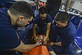 U.S. Sailors participate in a medical emergency drill aboard the guided missile cruiser USS Monterey (CG 61) in the Persian Gulf July 30, 2013 130730-N-QL471-187.jpg
