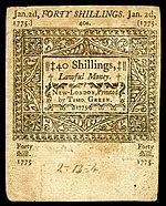 Connecticut-Kolonialwährung, 40 Schilling, 1775 (rückwärts)