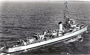 USS Brough (DE-148) underway, circa in the early 1950s